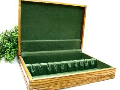 Wood Flatware Storage Chest Stainless Sterling Silverplate Wooden Case Box 12+