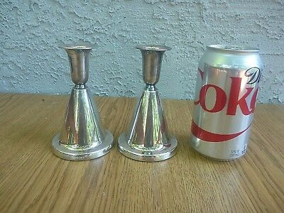 Mid Century Modern Art Deco Marthinsen Norway Pair Candle Holders 830 Sterling