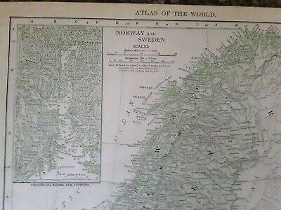 Vintage Color 1912 MAP Old Russia Minsk Norway  Sweden Denmark Atlas Rand
