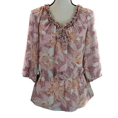 Banana Republic Womens Top Size Sm Petite Beige Red Floral Print Silk 3/4 Sleeve