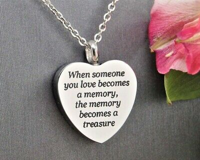 """Ashes Holder Necklace, """"Treasured Memories"""", Quality Cremation Jewelry Keepsakes"""
