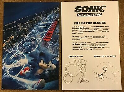 """'Sonic the Hedgehog' (2020) 2-Sided Movie Poster - 11"""" x 17"""" ***NEW***."""