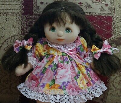 My Child Doll Ul Dyed Brunette - R2 Tag No Heart - Green Eyes - Dressed