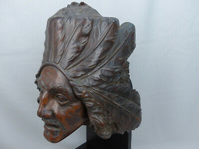 Very Rare 19thC Antique Carved Folk Art Wood Cigar Tobacco Store Indian Humidor