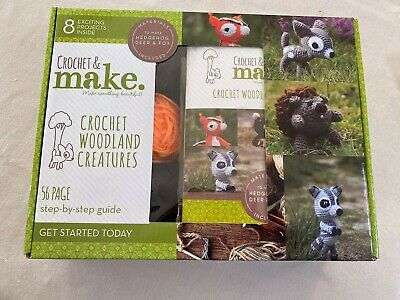 Boxed Set Crochet Woodland Creatures Kit - Hedgehog, Deer And Fox