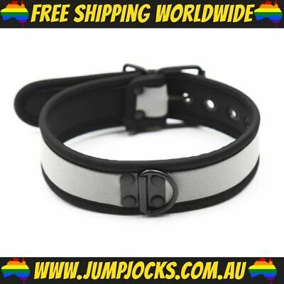 Silver Rubber Puppy Collar - Fetish, Bondage, Gay *FREE WORLDWIDE SHIPPING*