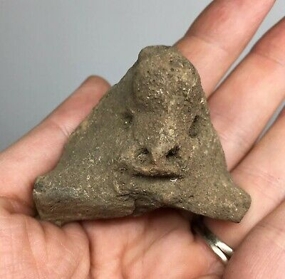Early Pre-Columbian Terracotta Pottery Anthropomorphic Fragment Ancient Mayan