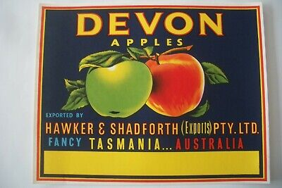 "Vintage Apple Box Label Devon ""No Printer"" Export Hawker Tasmania Australia"