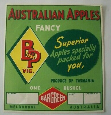 Vintage Apple Box Label BP Bargreen Stamping Boxes Tasmania Australia