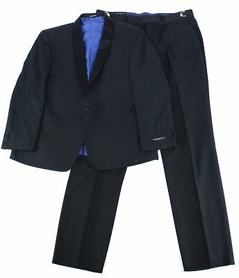 London Fog Mens Suits Black Size 44 Short Printed One-Button Tuxedo $299 573