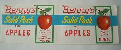 Vintage Long Apple Tin Label Berry's Cygnet Canning Tasmania 6Lb 4 OZ Australia
