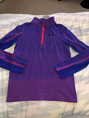 NWT Under Armour Girls YLG Large 10 - 12 Purple Pink Half Zip