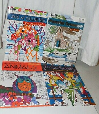 Lot of 4 Adult Coloring Books - Nature Animals Joy and Peaceful Getaways NEW