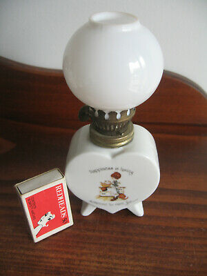 "Holly Hobbie Porcelain Lamp Wth Shade""Happiness Is Having Someone To Care For"""