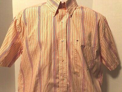 Tommy Hilfiger Shirt Large Short Sleeve Button Down Up Orange Red Striped Cotton