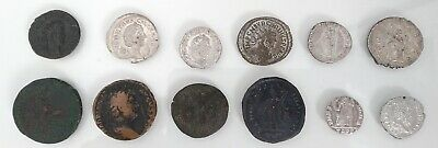 Unresearched Mixed lot of 12 Roman coins including 6 silver denarius - Lot 1
