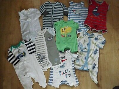 Joblot Of 18 X Baby Clothes Items Include Baby Grows/ Sleepers  0-3 Months Boys