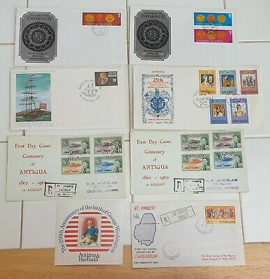 1st day Covers Cayman Islands, Antigua, St Vincent