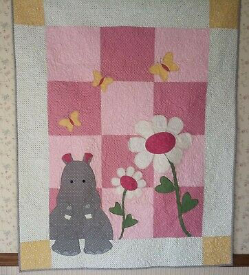 """Country Baby Girl/Toddler Quilt-Hilda Hippo-40"""" x 50"""""""