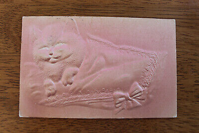 Postcard c1908 Embossed Pink Cat with Bow