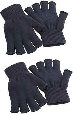 Cooraby 2 Pairs Uni Warm Half Finger Gloves Winter Stretchy Fingerless Gloves Ty