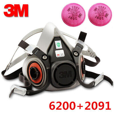 3M 6200 Anti Dust for Spray Paint Half Face Reusable Respirato W/ 2091 Filters