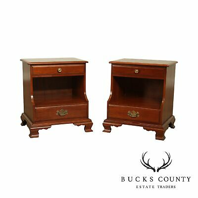 Ethan Allen Early American Vintage Solid Cherry Pair nightstands