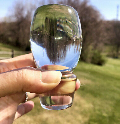 """Antique Heavy CLEAR Crystal Glass Decanter / BOTTLE STOPPER, PERFECT 3.5"""""""
