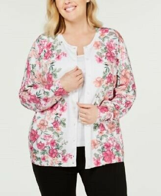 Karen Scott Womens Long Sleeves Button Front White Multi Floral Cardigan Plus 2X