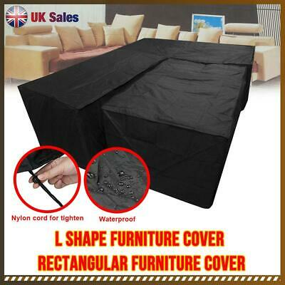 Waterproof Garden Corner Furniture Cover Sofa UV Protect L Shape Black Outdoor