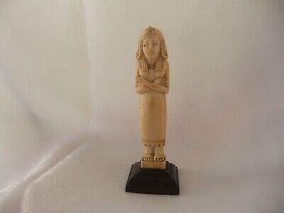 """ANTIQUE CARVED  EGYPTIAN FEMALE  PHARAOH  ON WOODEN PLINTH  - 5"""" HIGH - C.1900's"""