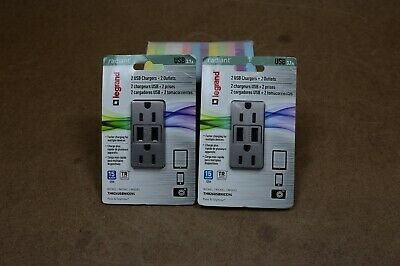 2 packs of Legrand - Pass & Seymour radiant TM826USBNICCV4 USB Charger Outlets
