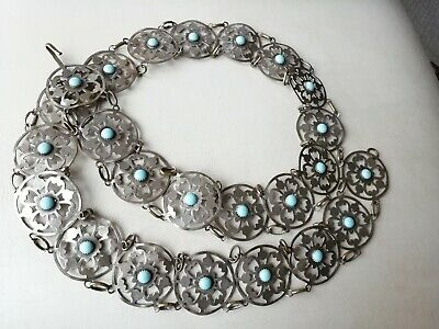 Vintage jewellery silver plated and torquoise belt 38 inches long
