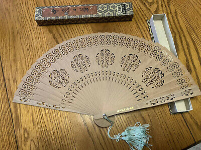 Vintage Chinese Hand Fan Wooden Bamboo Brown with original box