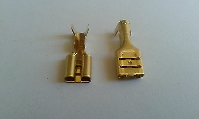 "1/4""  SPADE BRASS FEMALE CRIMP TERMINALS CONNECTOR  x 10 (LUCAR)"