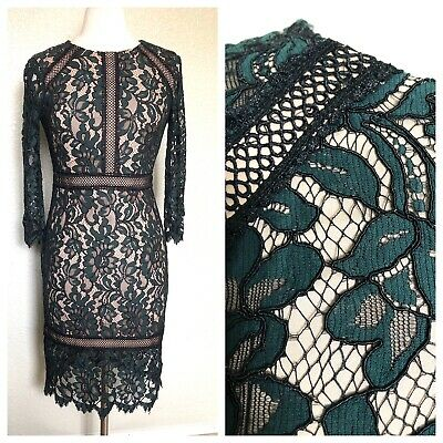 Vince Camuto Green/Black Lace Cocktail Dress Size 4