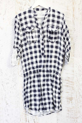 Charo Check Pattern Navy White Shirt Dress Regular Fit *Made in Italy* IA-0317