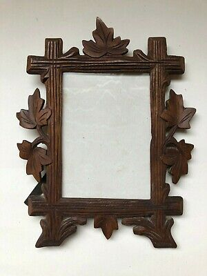 Antique Decorative French Hand Carved Wooden Picture Frame / Woodland Motif