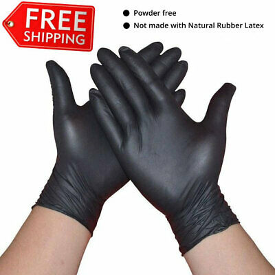 Disposable black Nitrile gloves, powder free latex free, pick your size, 100/box