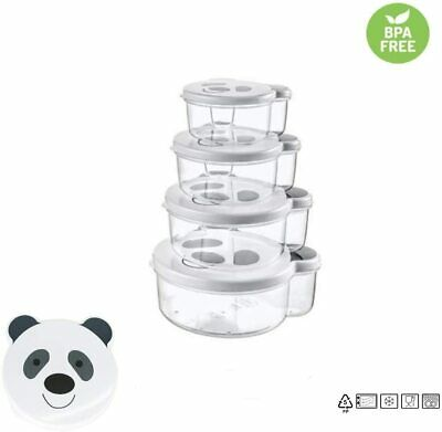 Baby Toddler Food Storage Containers - 4 Pack with Panda Faces! BPA Free