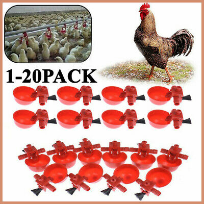 20 Pack Poultry Water Drinking Cups - Chicken Hen Plastic Automatic Drinker US