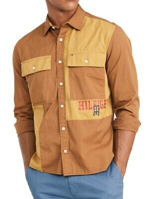 Tommy Hilfiger Mens Shirt Brown Size Large L Button Down Military $89 133