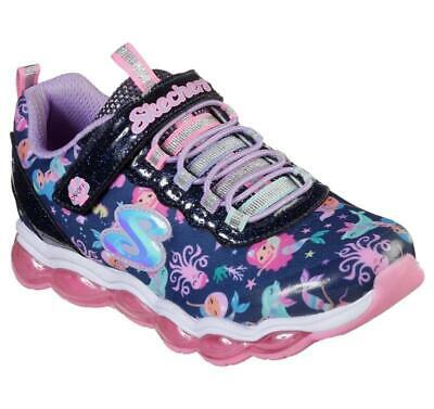Skechers S Lights Glimmer Lights Sea Glow Navy Sporty Casual Sneaker Shoes Girls