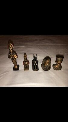Five Small Vintage Antique Hand Crafted/Painted Egyptian Statues