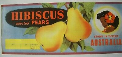 Vintage Apple Box Label Has Over Print '4028' Hibiscus Pear Victoria Australia