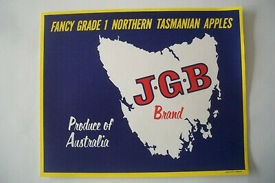 Vintage Apple Box Label  J.G.B Brand Grade 1 Northern Tasmania Australia