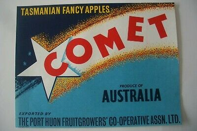Vintage Apple Box Label Comet 'Cox Kay' Port Huon  Tasmania Australia