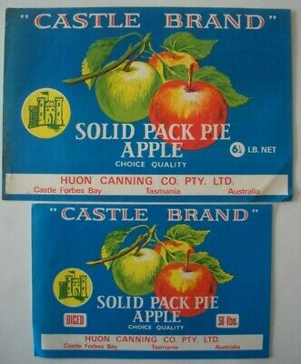 2 Vintage Apple Box Tin Label Labels Castle Brand Huon Canning Tasmania Australi