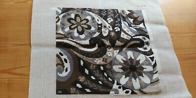 Vintage tapestry needlepoint canvas, no wool, contemporary - nearly completed