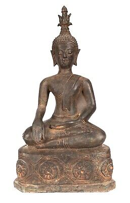 """Antique Laos Style Bronze Seated Enlightenment Buddha Statue - 33cm/13"""""""